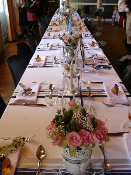 table de fête théme bleu et blanc, Ecosse
